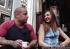 Dutch hooker toying tourist pussy with dildo