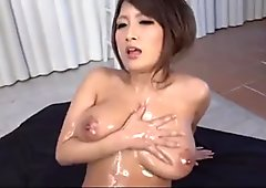 Yume Mizuki swallows fresh jizz after a top oral trio