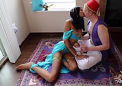 whorish DESI queen JASMINE BLOWS ALADDIN ON MAGIC CARPET