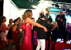 Nasty drunk bitches suck huge black cock  on the dance floor