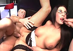 Geeky waitress gets hardcore threesome on the bar