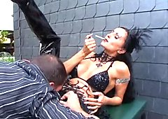 Sidney Black getting drilled in dark latex boots