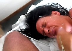 horney gilf loves a facial xxx