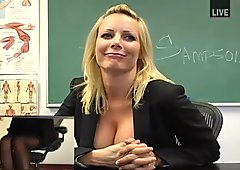 Cute and sexy blonde teacher masturbating in black stockings