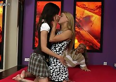 Granny fucked by two sweet teen girls