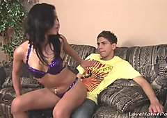 Beauty gives him his first lap dance