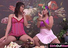 Horny lesbian gets her hairy holes licked