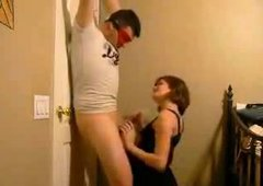 Pregnant wife fucks tied husband