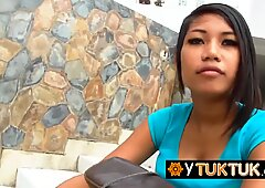 Asian hooker is taken from the street to the hotel room to have fun