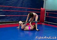 Lez babes wrestling and fingering