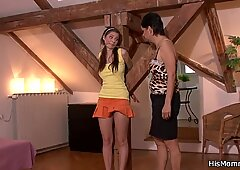 Tied up girl is used by his lesbian mom