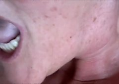 Jerking Off Into Granny's Mouth Closeup HD
