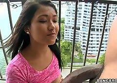 Romantic chick Alexis Glory sucks a tasty lollicock on the balcony