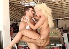 Gorgeous blonde impaled by cock