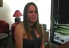 Model Brandy is proudly showing large tits