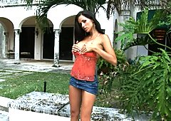 Seductive babe Janessa Brazil fingers her snatch outdoor