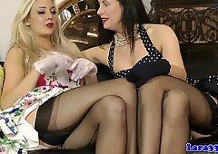British glamour MILF in lingerie lez fun