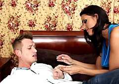 Divine brunette hottie Jennifer Dark gives hot blowjob to her lover