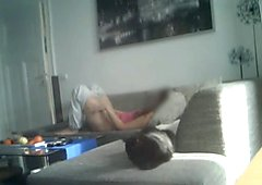 My sister 19 masturbates on our couch