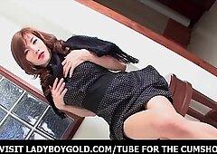 Shy Ladyboy Black Leather Studded Gear