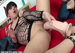 Filthy Bitch stretches her wet pussy with brutal dildos