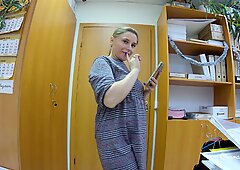 Bodystocking Flashing in the Office - Teaser