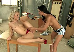 Michelle Moist fingered by her friend in on the table
