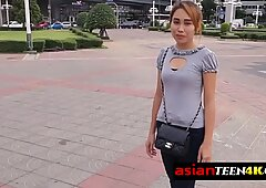 Horny backpacker asked for sex and he got this sexy Asian teen on the street!
