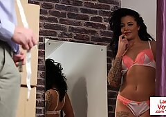 UK tattooed MILF gives JOI in changing room