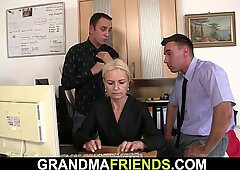 skinny blonde swallows two cocks for work