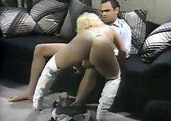 Slutty blonde stripper in hardcore anal