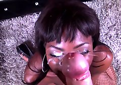 Ebony beauty Ana Foxxx gets her face covered POV in cum