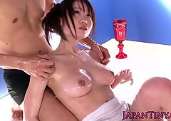 Tiny busty Aika Yumeno in slime fetish threeway