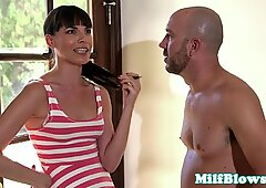 Cockhungry milf blowing neighbours cock