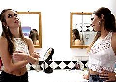 Gorgeous lesbian brunette