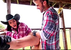 Hot Cowgirls gets Fucked by Cowboy in Outdoor Threesome