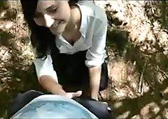 Cute german Girl blowjob in Forest