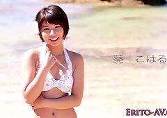 Asian bikini babe creampied outdoors