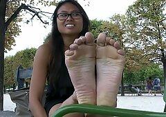 Esplêndidas francesas cambodian pés sozinhas pé adorar