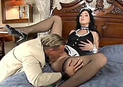 Lovely brunette housekeeper Stracy Stone gets her trench eaten by rich stud