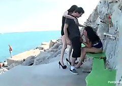 Ass fucked and mouth fucked bound babe in public