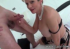 Big jugged milf female Sonia providing handjob and blowjob to a stranger