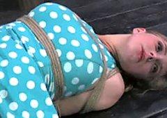 Hard tied sweetie wearing polka pop dress gets punished