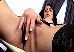 Gigi in sexy lingerie is down for anal masturbation