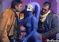 Jedi General Aayla Secura is captured and pumped by 2 revels - Eva Lovia