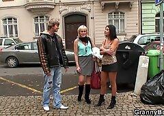 Young guy picks up skinny granny prostitute