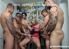 First Ever Grandma GangBang! Cum Everywhere!
