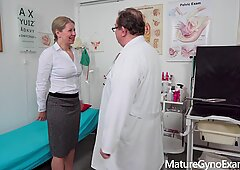 Horny mommy examined and made to cum by freaky doctor