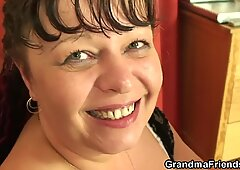 Watch POV 3some with old lady and boys