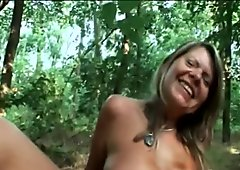 Chubby Granny Samantha Riding Big Dick In Woods